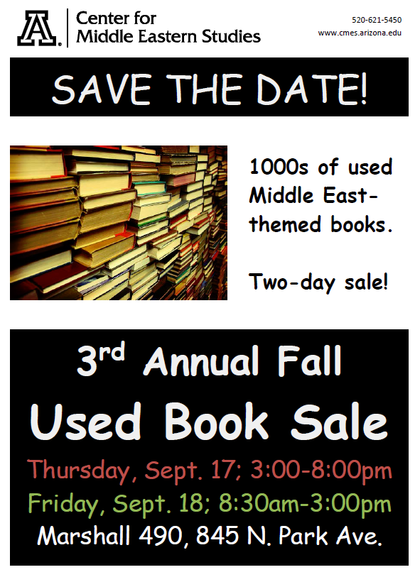 Save the Date- 3rd Annual Fall Used Book Sale 9/17-9/18 in Marshall 490