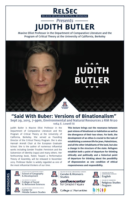 "Judith Butler ""Said with Buber: Versions of Binationalism"", 9/29/15 7pm"